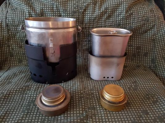 Original stainless steel Swedish Army cook system vs Home made canteen cup stove 01