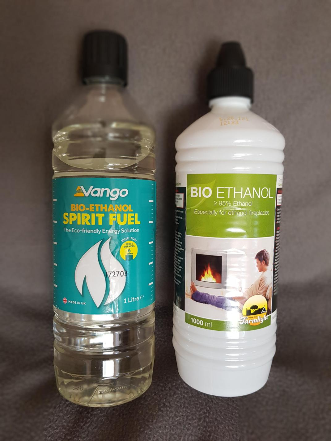 Bottles with bio-ethanol. A form of denatured alcohol.