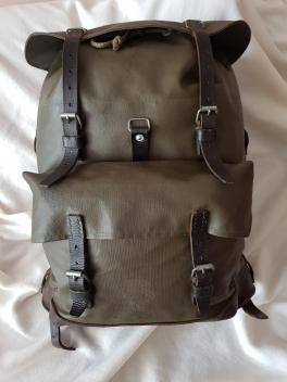 Swiss Army Military waterproof rubberized canvas and leather Backpack Rucksack 03
